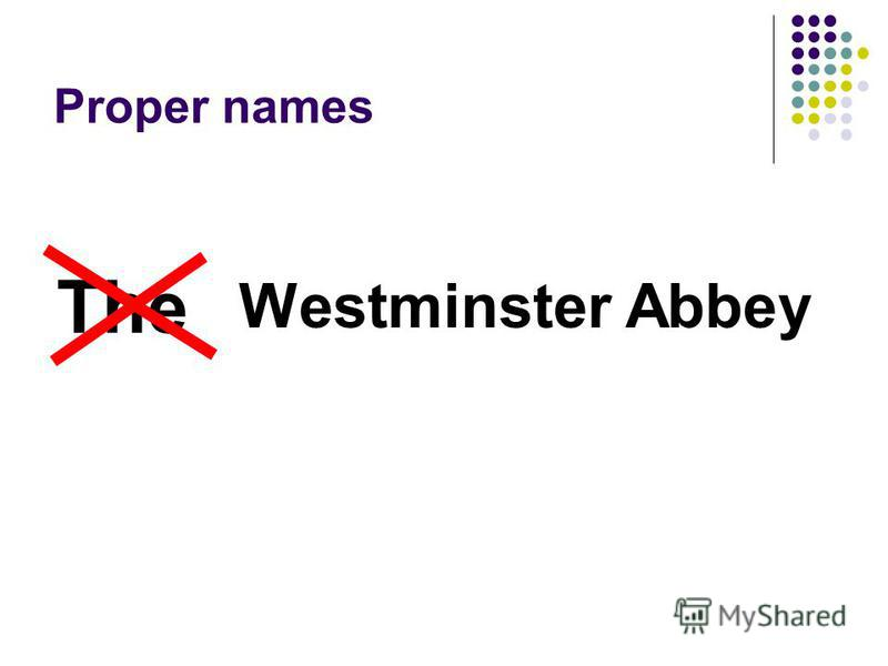 Proper names Westminster Abbey The