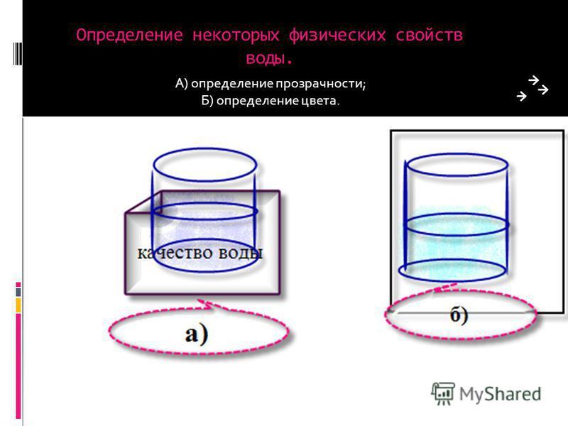 Определение некоторых физических свойств воды. А) определение прозрачности; Б) определение цвета.
