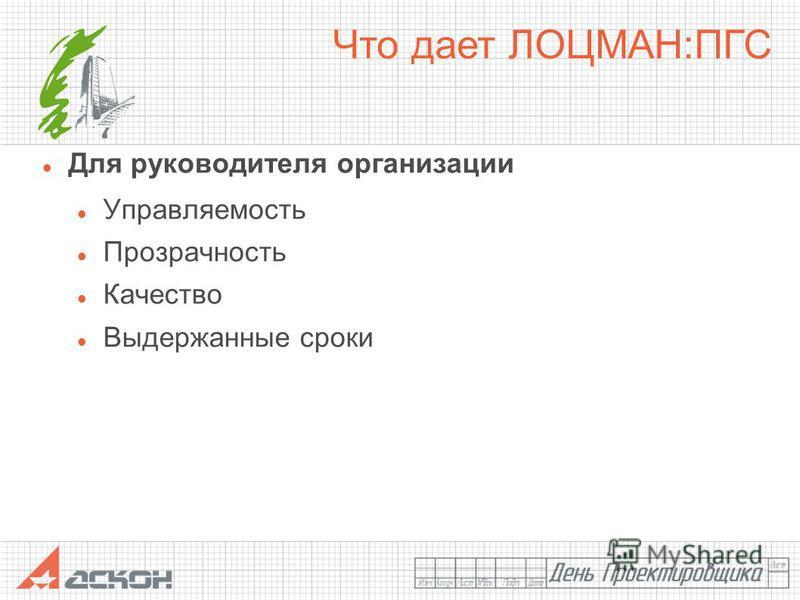 Для руководителя организации Управляемость Прозрачность Качество Выдержанные сроки Что дает ЛОЦМАН:ПГС