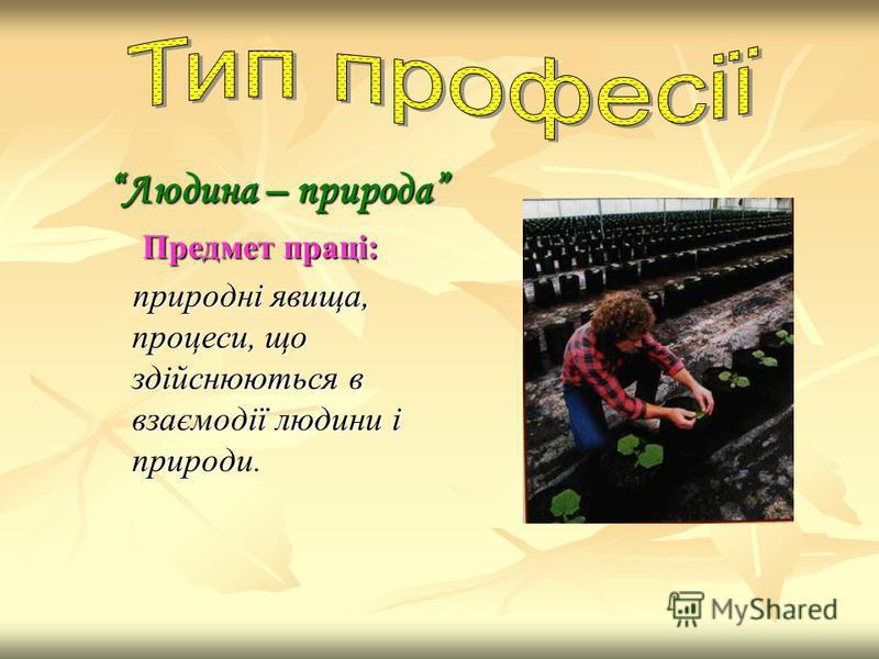 Людина – природа Предмет праці: природні явища, процеси, що здійснюються в взаємодії людини і природи.