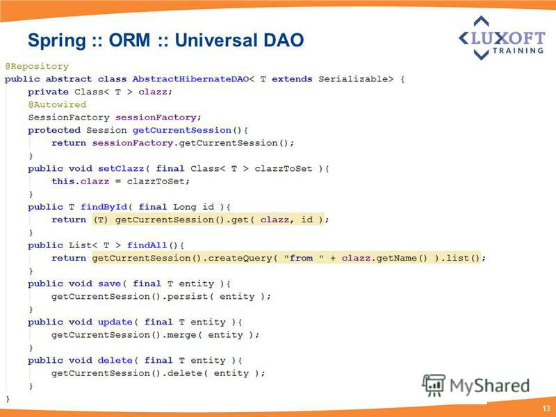 13 Spring :: ORM :: Universal DAO