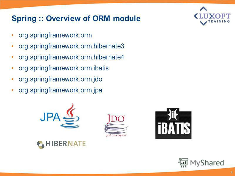 4 Spring :: Overview of ORM module org.springframework.orm org.springframework.orm.hibernate3 org.springframework.orm.hibernate4 org.springframework.orm.ibatis org.springframework.orm.jdo org.springframework.orm.jpa JPA