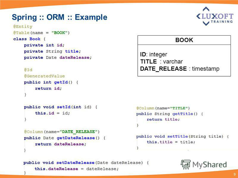 9 Spring :: ORM :: Example BOOK ID: integer TITLE : varchar DATE_RELEASE : timestamp