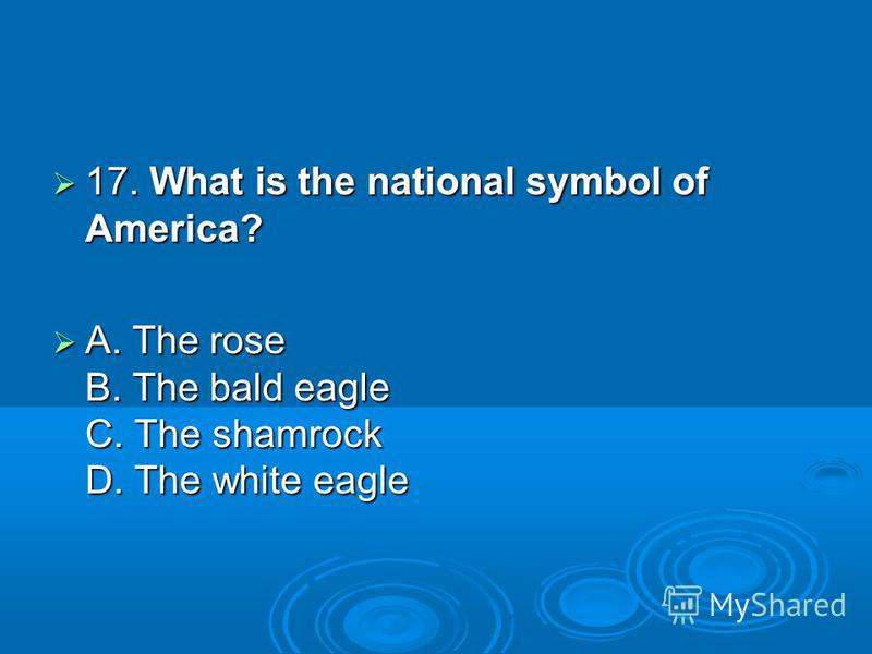 17. What is the national symbol of America? 17. What is the national symbol of America? A. The rose B. The bald eagle C. The shamrock D. The white eagle A. The rose B. The bald eagle C. The shamrock D. The white eagle