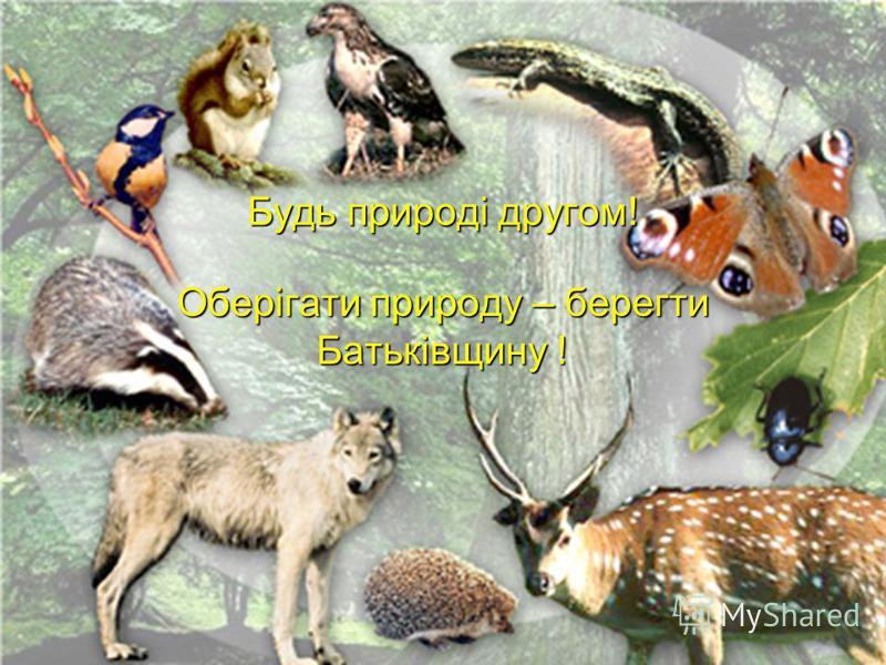 Будь природі другом! Оберігати природу – берегти Батьківщину !