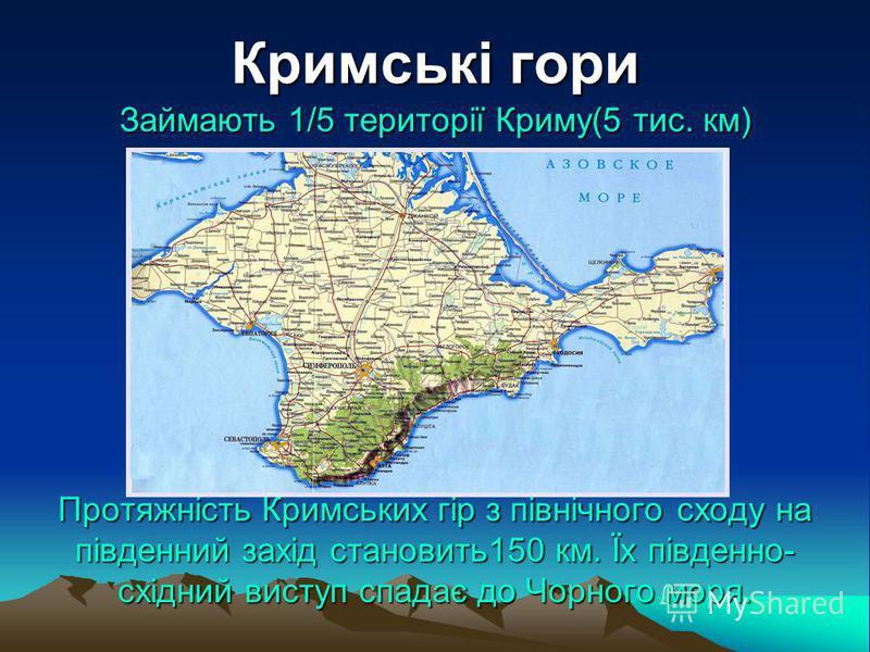 Кримські гори Займають 1/5 території Криму(5 тис. км) Протяжність Кримських гір з північного сходу на південний захід становить150 км. Їх південно- східний виступ спадає до Чорного моря.