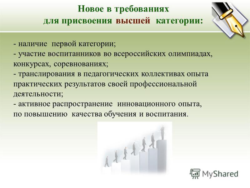 Новое в требованиях для присвоения высшей категории: - наличие первой категории; - участие воспитанников во всероссийских олимпиадах, конкурсах, соревнованиях; - транслирования в педагогических коллективах опыта практических результатов своей професс