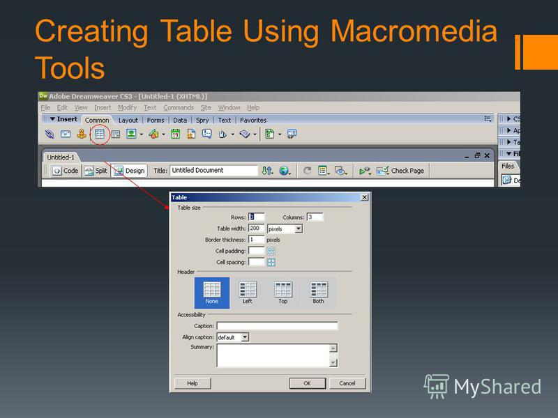 Creating Table Using Macromedia Tools