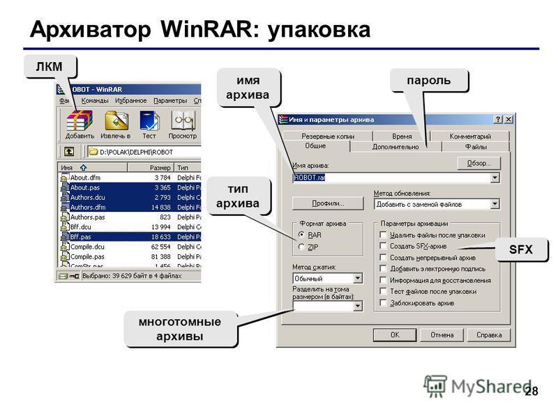 28 Архиватор WinRAR: упаковка ЛКМ тип архива SFX многотомные архивы пароль имя архива