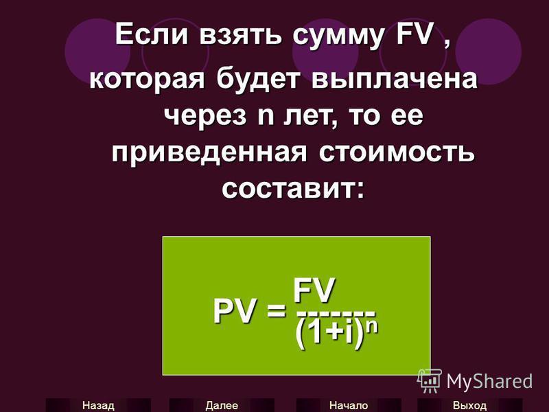 Выход Начало Далее Назад Если взять сумму FV, которая будет выплачена через n лет, то ее приведенная стоимость составит: FV PV = ------- FV PV = ------- (1+i) n (1+i) n