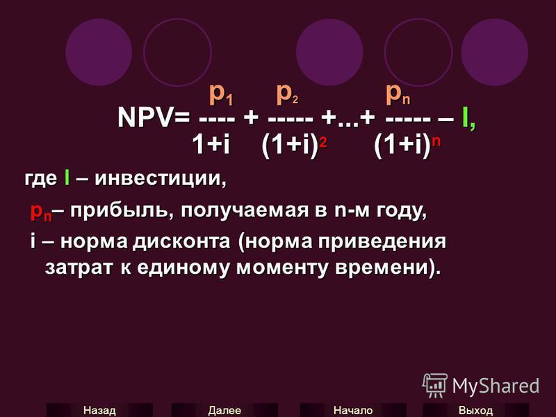 Выход Начало Далее Назад p 1 p 2 p n p 1 p 2 p n NPV= ---- + ----- +...+ ----- – I, NPV= ---- + ----- +...+ ----- – I, 1+i (1+i) 2 (1+i) n 1+i (1+i) 2 (1+i) n где I – инвестиции, р n – прибыль, получаемая в n-м году, р n – прибыль, получаемая в n-м г
