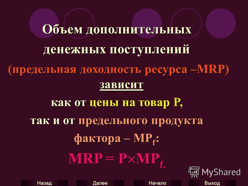 Выход Начало Далее Назад Объем дополнительных денежных поступлений (предельная доходность ресурса –MRP) зависит (предельная доходность ресурса –MRP) зависит как от цены на товар P, так и от предельного продукта фактора – MP f : MRP = P MP f.