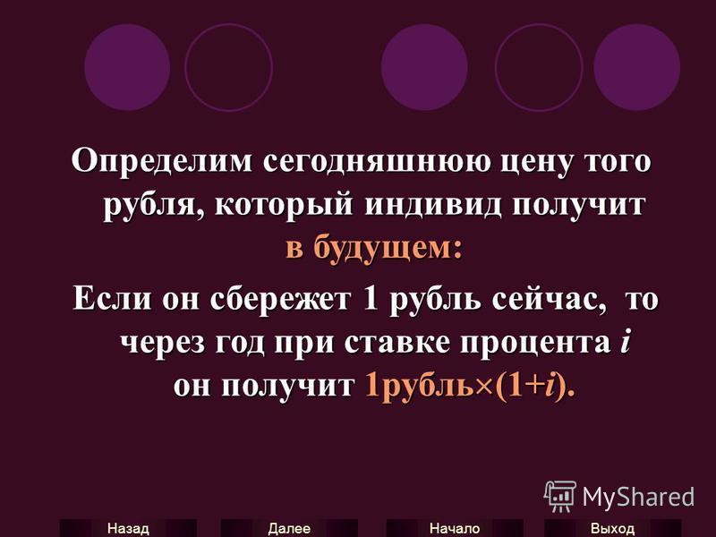 Выход Начало Далее Назад Определим сегодняшнюю цену того рубля, который индивид получит в будущем: Если он сбережет 1 рубль сейчас, то через год при ставке процента i он получит 1 рубль (1+i). Если он сбережет 1 рубль сейчас, то через год при ставке