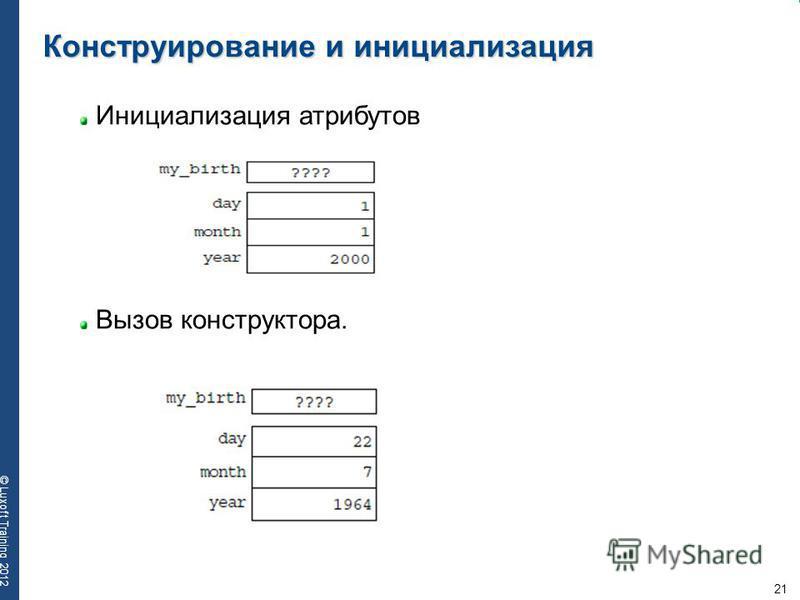 21 © Luxoft Training 2012 Конструирование и инициализация Инициализация атрибутов Вызов конструктора.