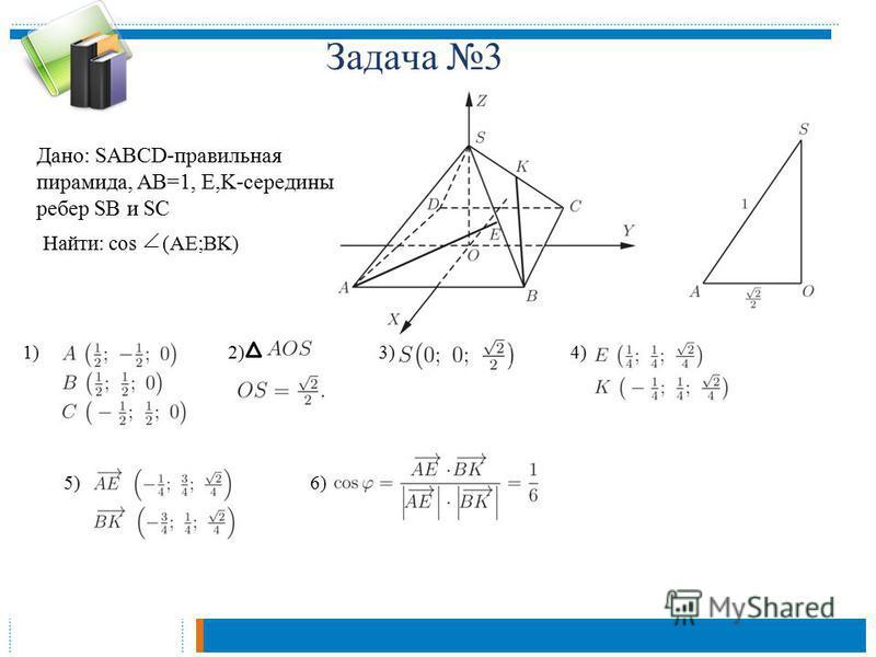 Дано: SABCD-правильная пирамида, AB=1, E,K-середины ребер SB и SC Задача 3 Найти: cos (AE;BK) 1)2)3)4) 5)6)