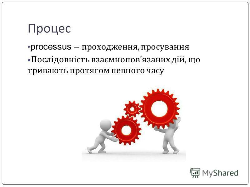 Процес processus – проходження, просування Послідовність взаємнопов язаних дій, що тривають протягом певного часу
