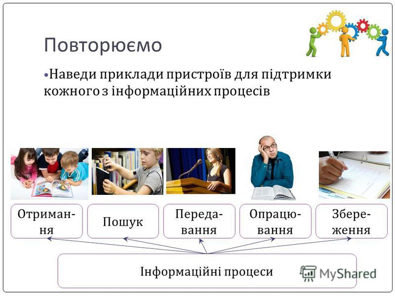 Повторюємо Наведи приклади пристроїв для підтримки кожного з інформаційних процесів Інформаційні процеси Отриман- ня Пошук Переда- вання Опрацю- вання Збере- ження