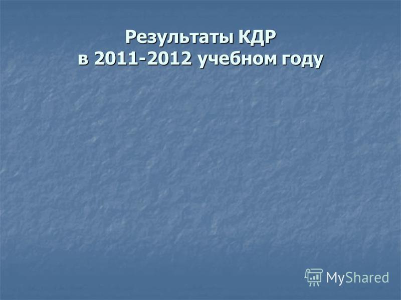 Результаты КДР в 2011-2012 учебном году