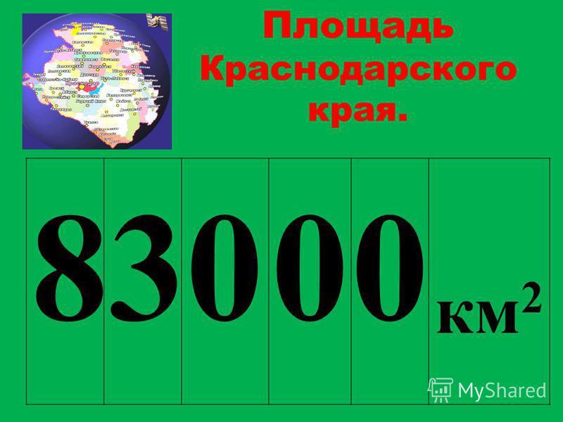 Площадь Краснодарского края. 83000 км 2