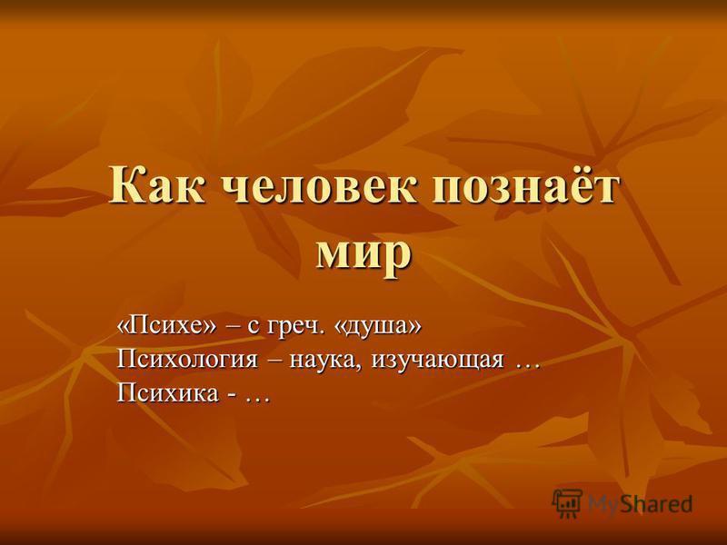 Как человек познаёт мир «Психе» – с греч. «душа» Психология – наука, изучающая … Психика - …