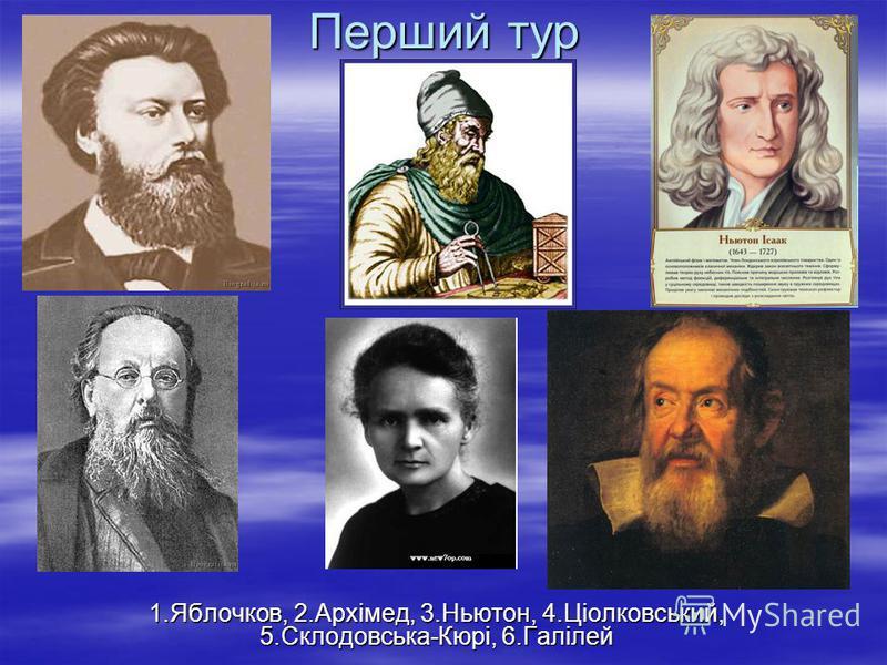 Перший тур 1.Яблочков, 2.Архімед, 3.Ньютон, 4.Ціолковський, 5.Склодовська-Кюрі, 6.Галілей
