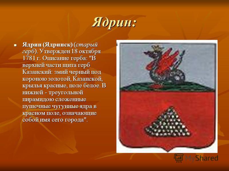 Ядрин: Ядрин (Ядринск) (старый герб). Утвержден 18 октября 1781 г. Описание герба: