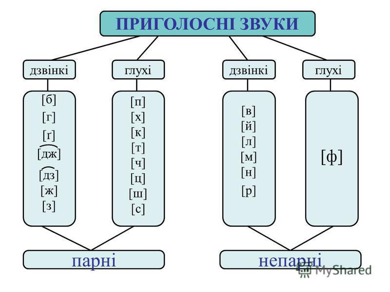 ПРИГОЛОСНІ ЗВУКИ дзвінкіглухідзвінкіглухі парнінепарні [ф] [б] [г] [ґ] [дж] [дз] [ж] [з] [п] [х] [к] [т] [ч] [ц] [ш] [с] [в] [й] [л] [м] [н] [р]