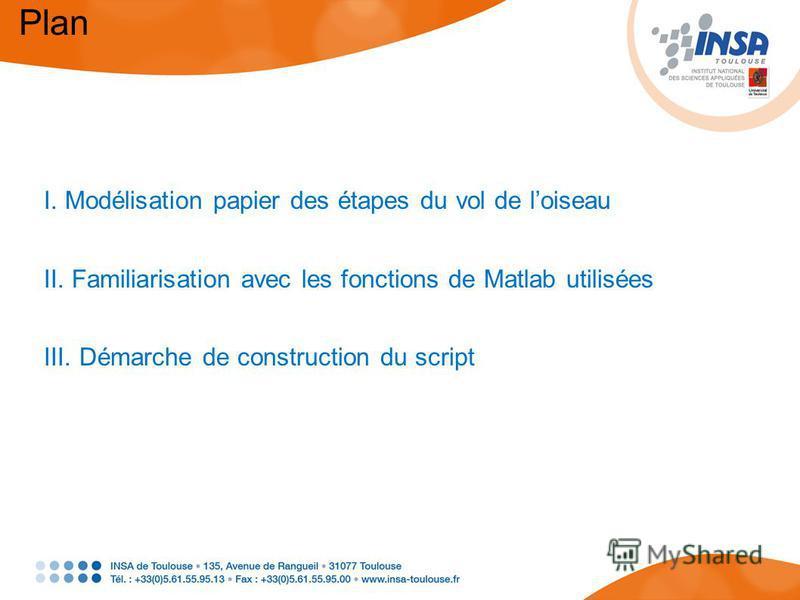 Plan I. Modélisation papier des étapes du vol de loiseau II. Familiarisation avec les fonctions de Matlab utilisées III. Démarche de construction du script
