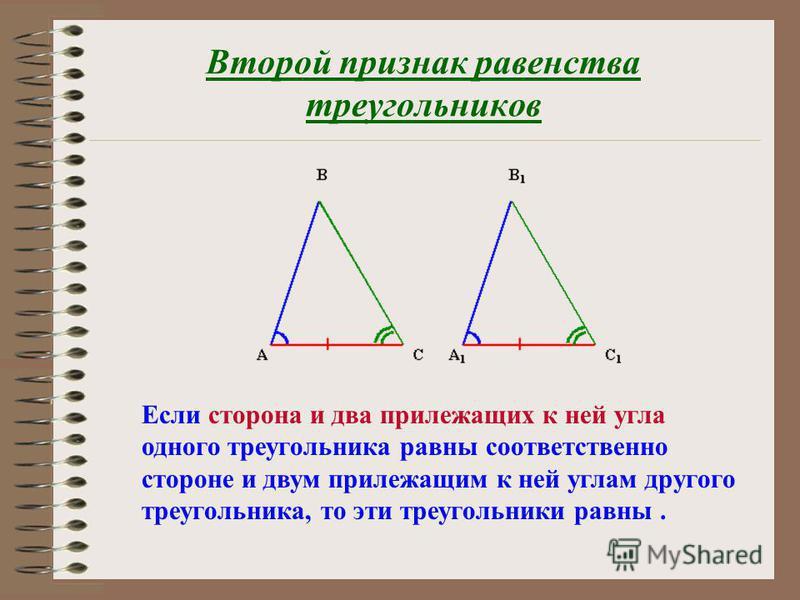 Если две стороны и угол между ними одного треугольника равны соответственно двум сторонам и углу между ними другого треугольника, то эти треугольники равны. Первый признак равенства треугольников