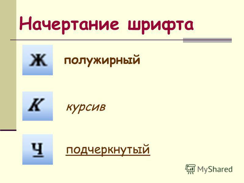 Начертание шрифта курсив полужирный подчеркнутый
