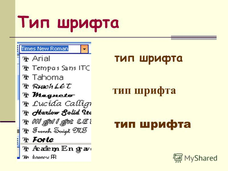 Тип шрифта тип шрифта