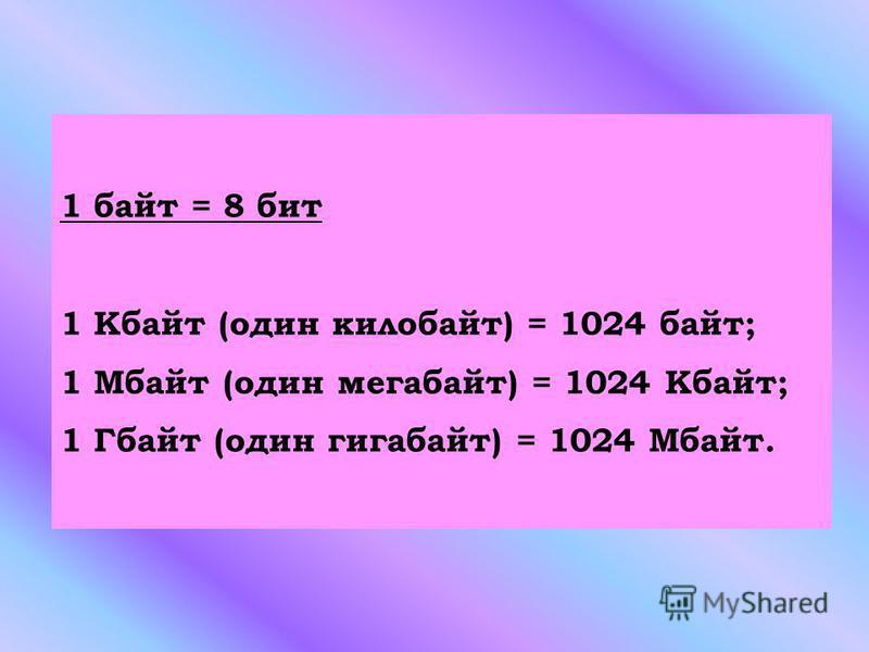 1 байт = 8 бит 1 Кбайт (один килобайт) = 1024 байт; 1 Мбайт (один мегабайт) = 1024 Кбайт; 1 Гбайт (один гигабайт) = 1024 Мбайт.