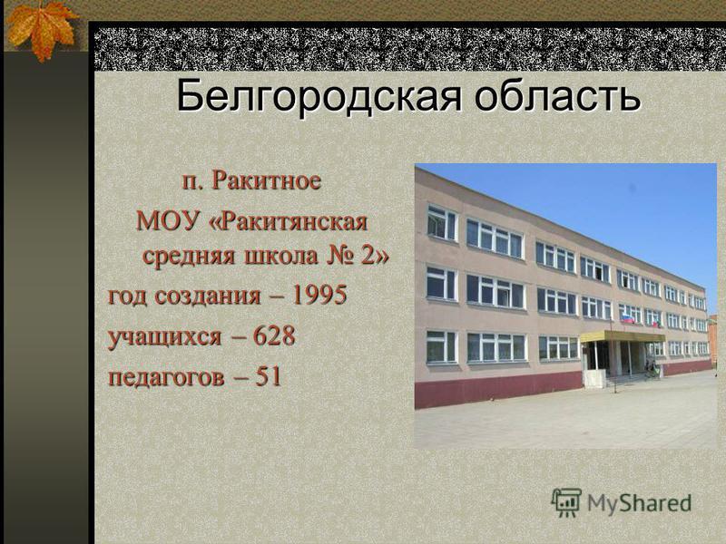 Белгородская область п. Ракитное МОУ «Ракитянская средняя школа 2» год создания – 1995 учащихся – 628 педагогов – 51