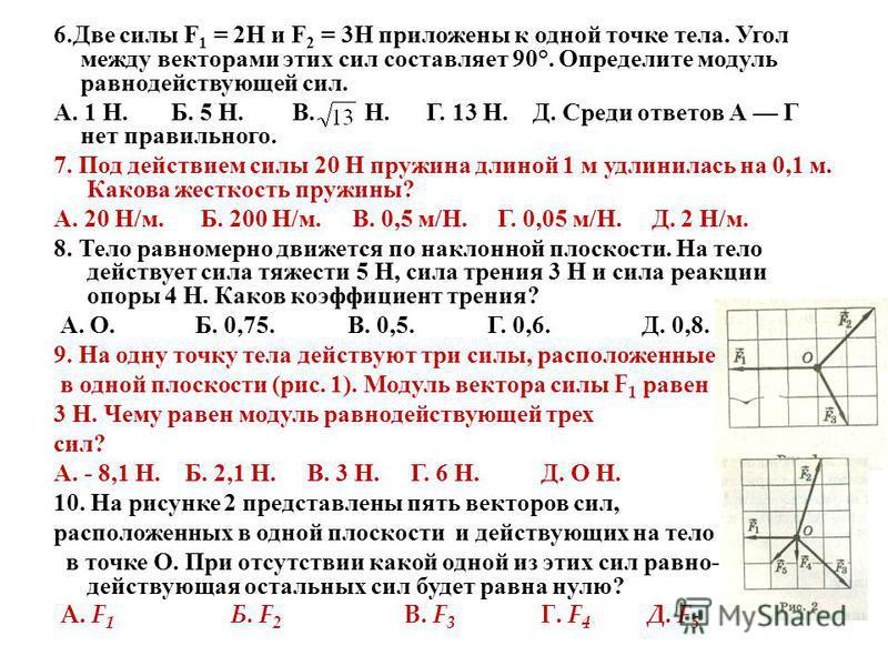 6. Две силы F 1 = 2Н и F 2 = 3Н приложены к одной точке тела. Угол между векторами этих сил составляет 90°. Определите модуль равнодействующей сил. А. 1 Н. Б. 5 Н. В. Н. Г. 13 Н. Д. Среди ответов А Г нет правильного. 7. Под действием силы 20 Н пружин