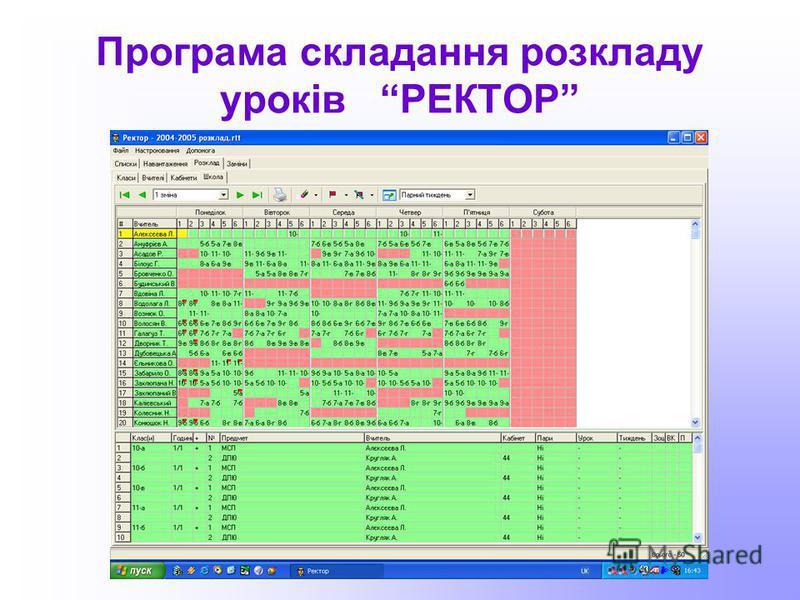 Програма складання розкладу уроків РЕКТОР