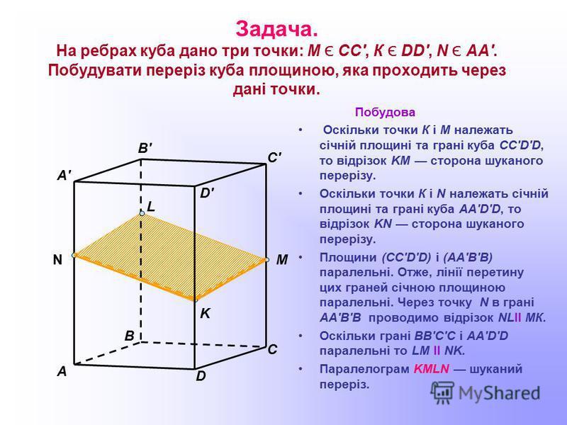 Задача. На ребрах куба дано три точки: М Є СС', К Є DD', N Є АА'. Побудувати переріз куба площиною, яка проходить через дані точки. Побудова Оскільки точки К і М належать січній площині та грані куба CC'D'D, то відрізок KM сторона шуканого перерізу.
