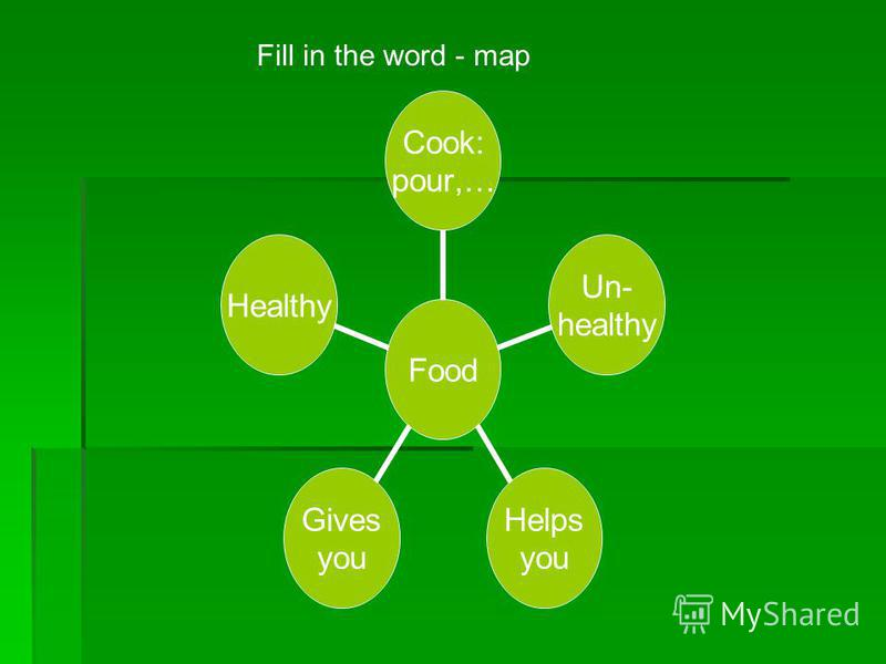 Food Cook: pour,… Un- healthy Helps you Gives you Healthy Fill in the word - map