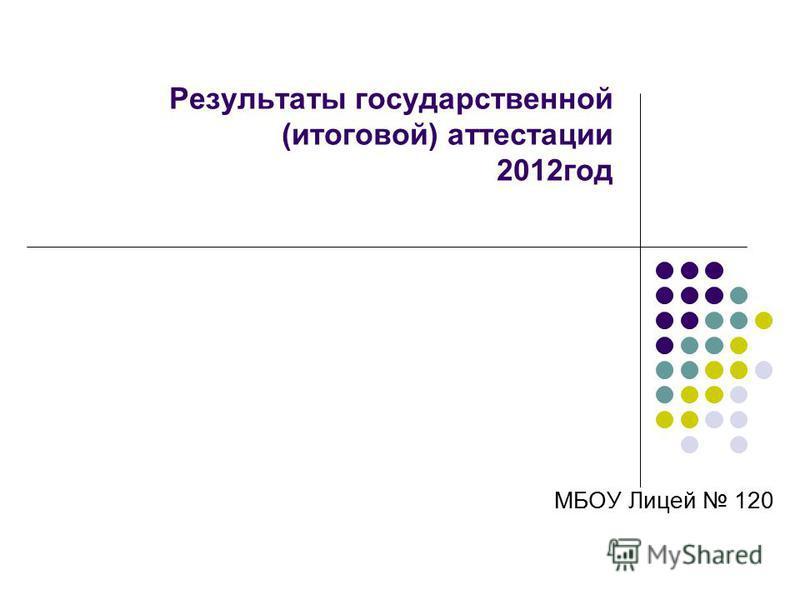 Результаты государственной (итоговой) аттестации 2012 год МБОУ Лицей 120