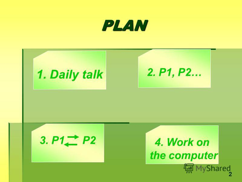 PLAN 1. Daily talk 3. P1 P2 2. P1, P2… 4. Work on the computer 2