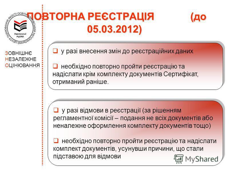 ПОВТОРНА РЕЄСТРАЦІЯ (до 05.03.2012) ПОВТОРНА РЕЄСТРАЦІЯ (до 05.03.2012) ЗОВНІШНЄ НЕЗАЛЕЖНЕ ОЦІНЮВАННЯ у разі відмови в реєстрації (за рішенням регламентної комісії – подання не всіх документів або неналежне оформлення комплекту документів тощо) необх