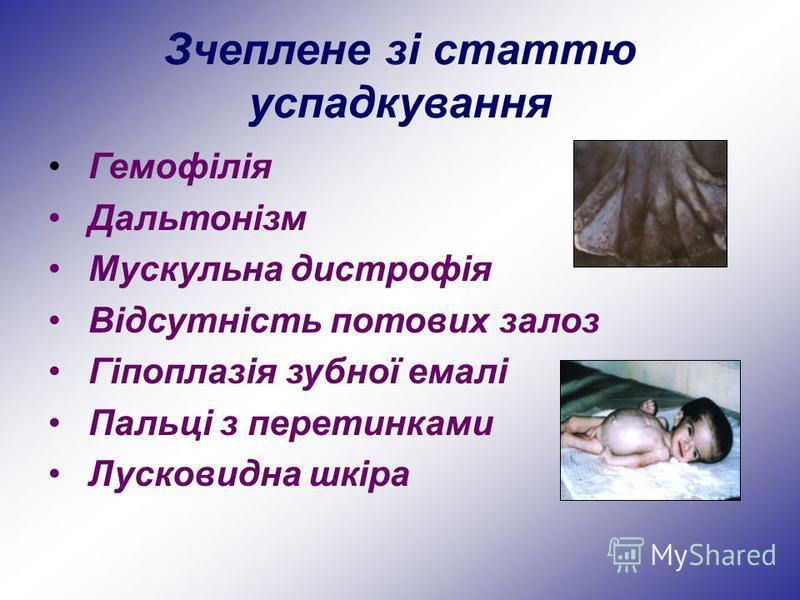 Зчеплене зі статтю успадкування Гемофілія Дальтонізм Мускульна дистрофія Відсутність потових залоз Гіпоплазія зубної емалі Пальці з перетинками Лусковидна шкіра