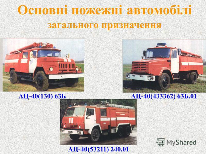 Основні пожежні автомобілі загального призначення АЦ-40(130) 63Б АЦ-40(433362) 63Б.01 АЦ-40(53211) 240.01