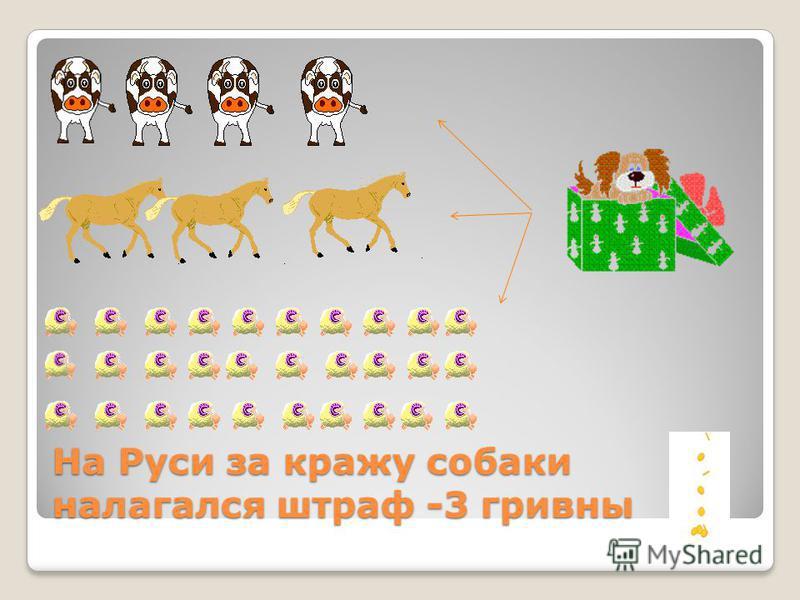 На Руси за кражу собаки налагался штраф -3 гривны