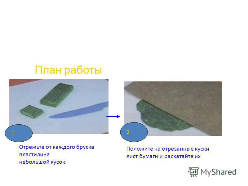 План работы Отрежьте от каждого бруска пластилина небольшой кусок. Положите на отрезанные куски лист бумаги и раскатайте их 1 2