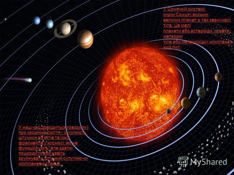 У наш час доводиться говорити і про космічне сміття - сукупність штучних об'єктів та їхніх фрагментів у космосі, які не функціонують, але здатні пошкодити або навіть зруйнувати штучний супутник чи міжпланетні станції. У Сонячній системі, окрім Сонця