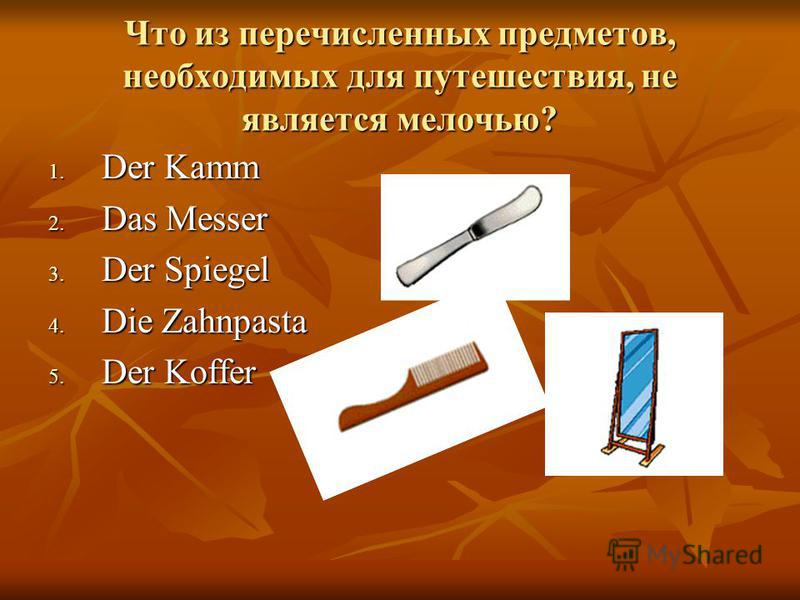 Что из перечисленных предметов, необходимых для путешествия, не является мелочью? 1. D er Kamm 2. D as Messer 3. D er Spiegel 4. D ie Zahnpasta 5. D er Koffer