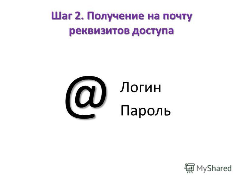 Шаг 2. Получение на почту реквизитов доступа Логин Пароль @
