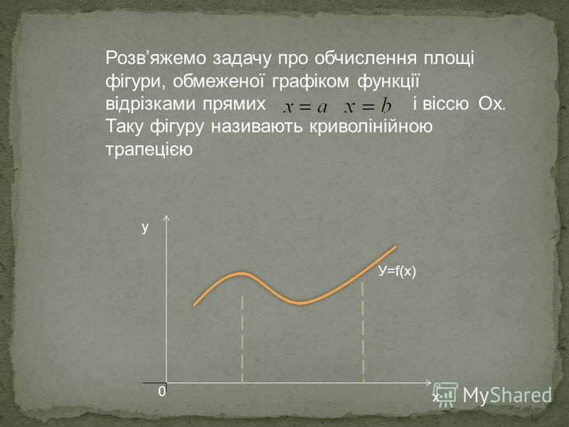 У=f(x) 0 x y Розвяжемо задачу про обчислення площі фігури, обмеженої графіком функції відрізками прямих і віссю Ox. Таку фігуру називають криволінійною трапецією
