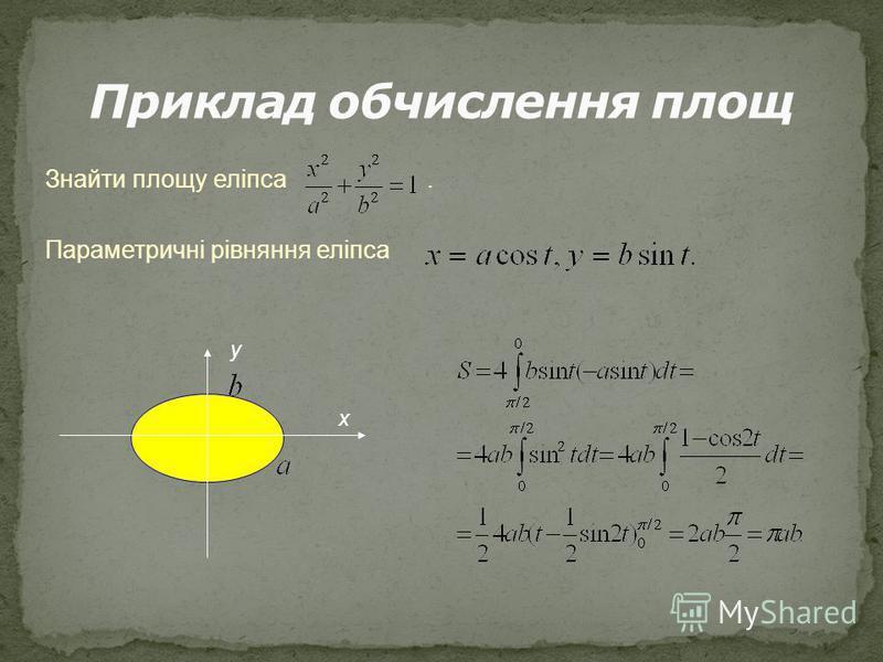 Знайти площу еліпса. Параметричні рівняння еліпса у х