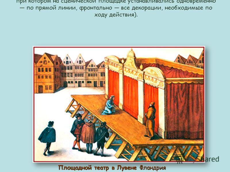 Для всей культуры средневекового театра характерен принцип симультанных декораций (тип декорационного оформления спектакля, при котором на сценической площадке устанавливались одновременно по прямой линии, фронтально все декорации, необходимые по ход